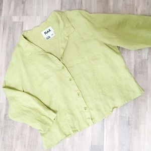 FLAX Linen Button Down Collared Green Blouse